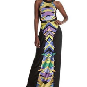 BCBG Floral Multi Colored Geometric Dress Black XS